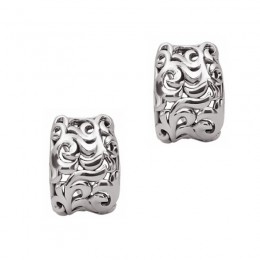Sterling Silver And 14K White Gold  Earring