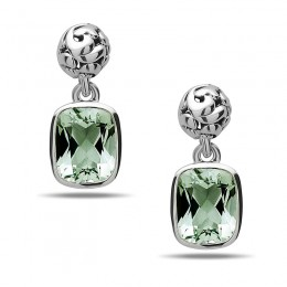 Dylani Collection Sterling Silver Green Amethyst Dangle Earrings