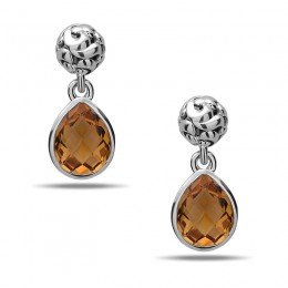 Dylani Collection Sterling Silver Citrine Dangle Earrings
