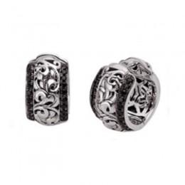 Sterling Silver & 14K White Gold  Earrings 40 Black Sapphires & 40 White Sapphires