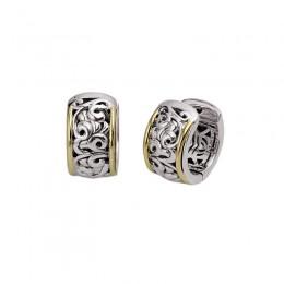 Sterling Silver & 18KY Hoop Earrings