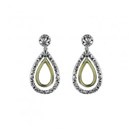 Sterling Silver, 14KW & 18KY Ivy Pear Drop Earrings