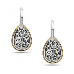 Sterling Silver & 18KY Ivy Pear Drop Earrings