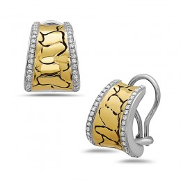 Sterling Silver ,14K White Gold , & 18Ky Python Earrings Containing 76 Rds=.45Ctw (K/L, I1)