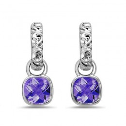 Dylani Collection Sterling Silver Amethyst Dangle Earrings
