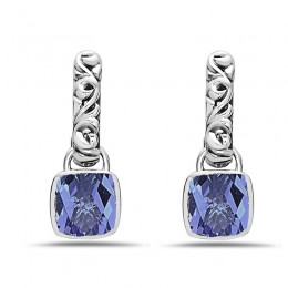 Dylani Collection Sterling Silver Blue Topaz Dangle Earrings
