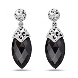 Sterling Silver  & 14K White Gold  Earring omgs Containing 2  21X11Mm Marquise Hematite With White Quartz Top