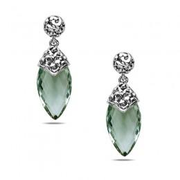 Sterling Silver  & 14K White Gold  Earrings Containing 2  21X11Mm Briolette Mint Green Quartz Stones