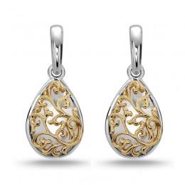 Sterling Silver 14K White Gold  & 18 Kg Pear Ivy Lace Earrings
