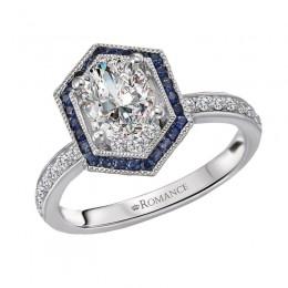 Halo Semi Mount Diamond and Gemstone Ring