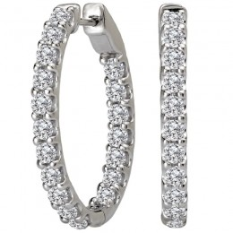 Ladies Diamond Hoop Earrings