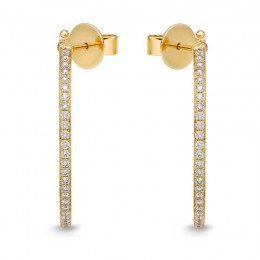 Shared Prong Round Hoops with Angled Pin