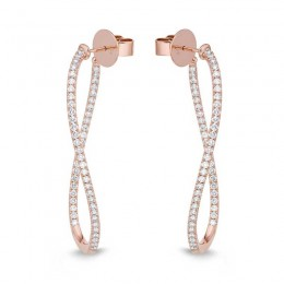 Shared Prong Twist Hoops with Angled Pin