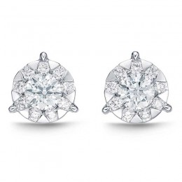 Diamond Bouquets 3-Prong Studs 1ct look (each ear)