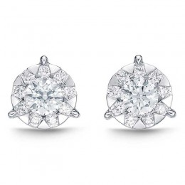 Diamond Bouquets 3-Prong Studs 1.50ct look (each ear)