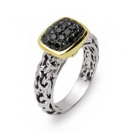 Sterling & 14K Yellow Gold  Gold Ring Containing 24 Round Black Diamonds 0.65Ctw