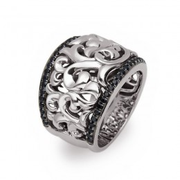 Sterling Silver Ring Containing 52 Black Sapphires