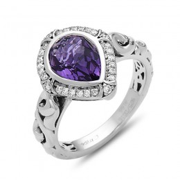 Sterling Silver  Ring Containing 10X7Mm Pear Shape Amethyst And  28 Round Diamonds=.17Ctw  (K-L, I1)