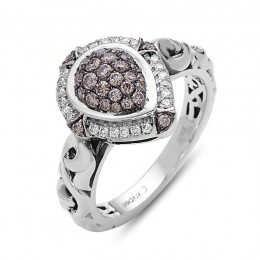 Sterling Silver Pear Pave Ring 24 Round Diamonds .13Cts Kl/Si3-I1 & 28 Round Brown Diamonds .40Cts