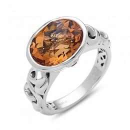 Sterling Silver Ivy Citrine & Ruby Ring