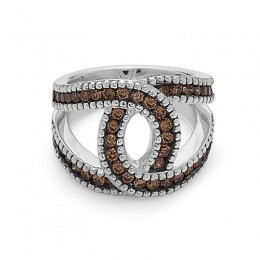 """Sterling Silver  Double """"C"""" Ring Containing 48 Brown Diamond=1.26Ctw"""