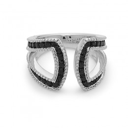 """Sterling Silver  Ring """"U""""  Design Containing 48 Black Sapphire=1.65Ctw"""