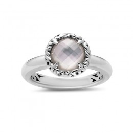 Sterling Silver  Ring Containing  1 Round 8Mm White Mother Of Pearl Stone