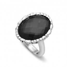 Sterling Ring Containing  1  18X13Mm Oval Hematite With White Quartz Top