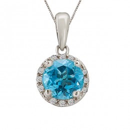 Topaz and Diamond Halo Pendant