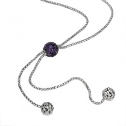 Sterling Silver Roxy Lariat Necklace 70 Multi Shaped Amethyst
