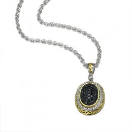 Sterling And 18K Yellow Gold Pendant Containing 41 White Diamonds .25Ctw And 47 Black Diamonds 1.00Ctw