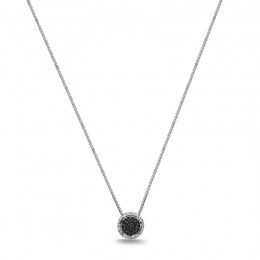 Sterling Silver Pendant With 19 Black Sapphires 0.49Ct