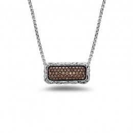 Sterling Silver Small 8Mm Bar Necklace 31 Brown Diamonds .36Cts