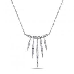 18K White Gold Diamond Necklace Containing 77 Rd Diam=1.34Ctw  Fg/Si1-2