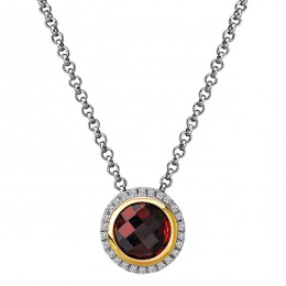 Diamond and Gemstone Halo Pendant