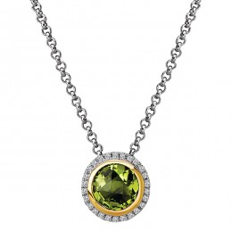 Diamond and Peridot Halo Pendant