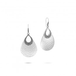 Classic Chain Hammered Silver Drop Earrings