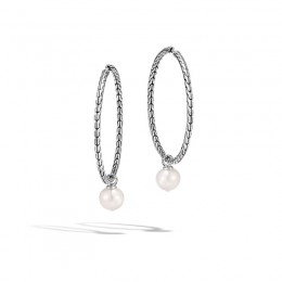 Classic Chain Transformable Hoop Earring, Silver, 10MM Pearl