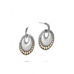 Dot Hammered 18K Gold & Silver Round Earrings BG