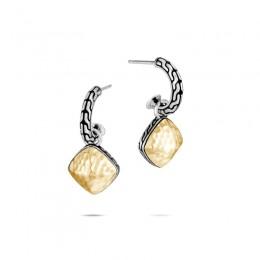Classic Chain Hammered Sugarloaf Drop Earrings