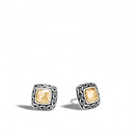 Classic Chain Hammered Gold & Silver Heritage 12mm Stud Earrings BG