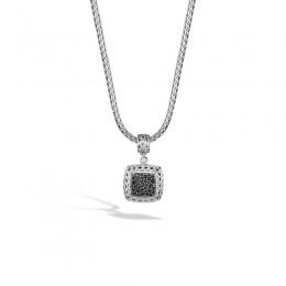 Classic Chain Silver Medium Square Pendant with Black Sapphires