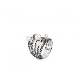 Classic Chain Pearl Multi Row Ring