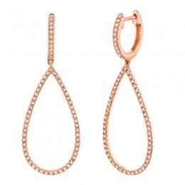 .40CT Diamond Hoop W/ Pear Shaped Dangle Earrings