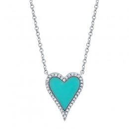 .09 Diamond/Turq Heart Pendant