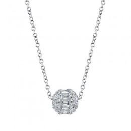 .48CT Rd/Bag Diamonds Pave Ball Necklace