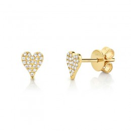 0.10Ct Diamond Pave Heart Stud Earring