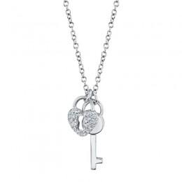 .11CT Diamond Lock & Key Pendant