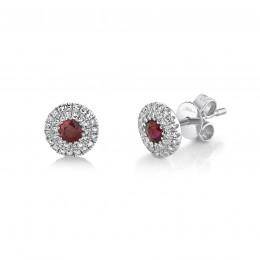 0.20Ct Diamond & 0.28Ct Ruby Stud Earring