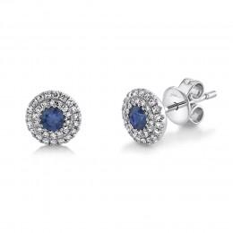 0.20Ct Diamond & 0.24Ct Blue Sapphire Stud Earring